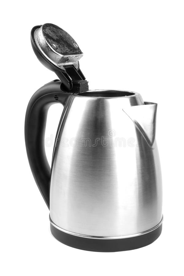 A gray kettle isolated on a white background. An opened kettle. An electric steel kettle. Equipment for the house. Household item. An electric stainless steel stock image
