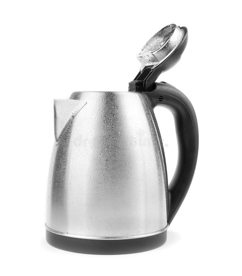 A gray kettle on a white background. An opened kettle. An electric steel kettle. Equipment for the house. Household item. royalty free stock photos