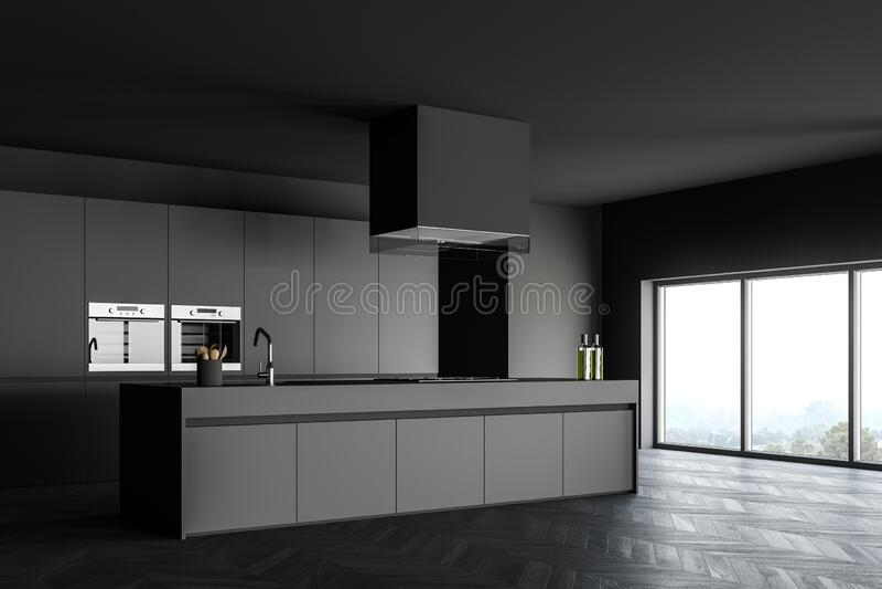 Gray Kitchen Corner With Island And Window Stock Illustration Illustration Of Integrated Floor 173354006