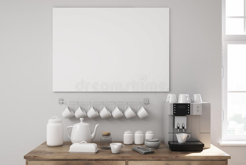 Gray kitchen, table and a coffee machine vector illustration