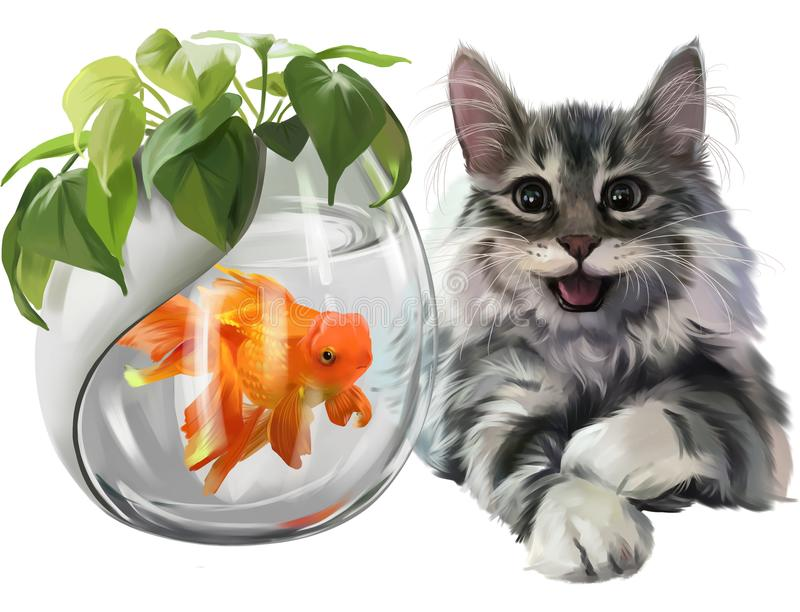 Gray kitten and goldfish watercolor painting vector illustration