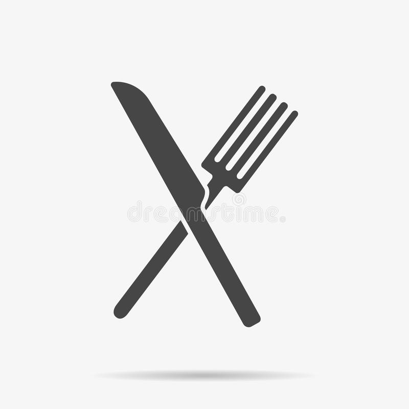 Gray Knife och gaffelsymbol på bakgrund Modern plan pictogram, affär, marknadsföring, internetbegrepp stock illustrationer