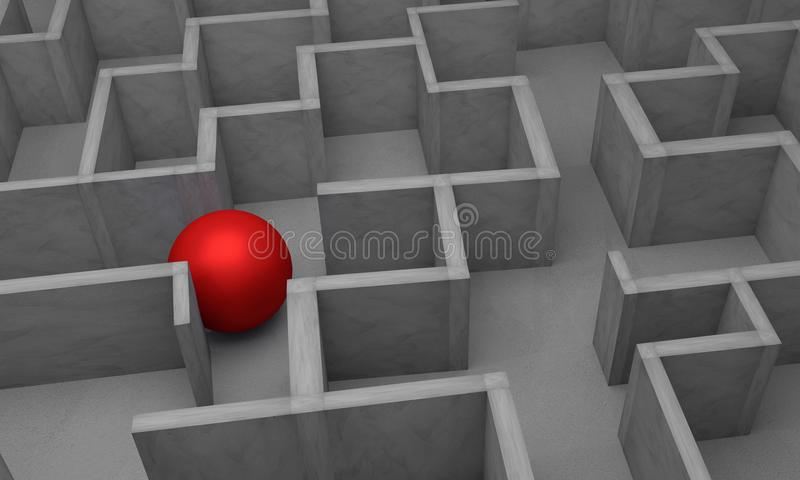 Gray labyrinth, complex problem solving concept,3d rendering vector illustration
