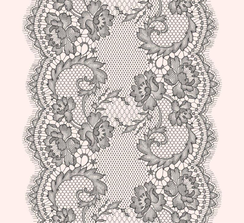 Gray Lace Ribbon Vertical Seamless modell royaltyfri illustrationer