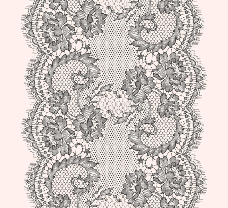 Download Gray Lace Ribbon Vertical Seamless Pattern Stock Vector