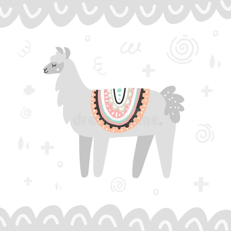 Gray Lama Illustration stock illustration