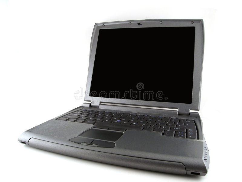 Gray laptop computer. Isolated gray laptop computer