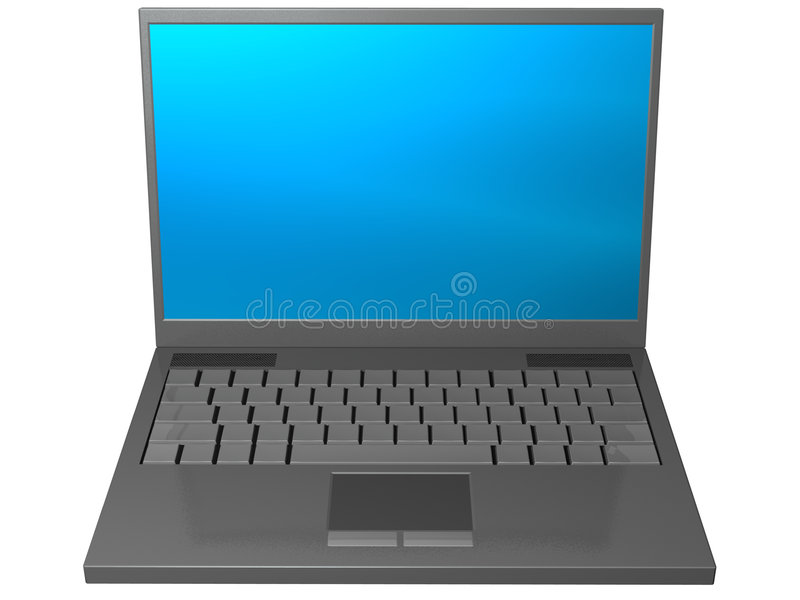 Gray laptop computer. An isolated gray laptop computer on white background royalty free stock photos