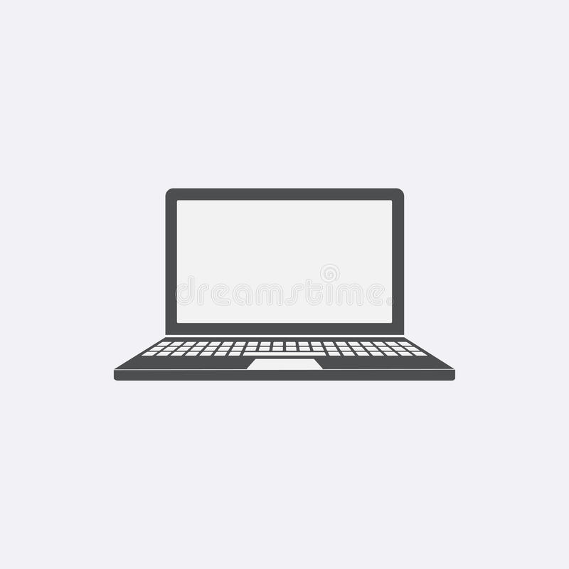 Gray Laptop icon isolated on background. Modern flat pictogram,. Business, marketing, internet concept. Trendy Simple laptop symbol for web site design or stock illustration