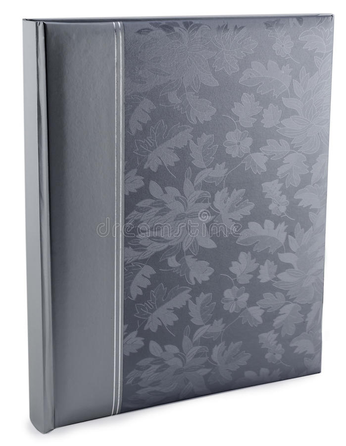 Gray leather photo album cover isolated. White background stock photo