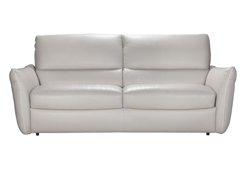 Gray leather sofas for two seats in loft style. Cozy sofa in gray leather, studio shot on white background stock photo