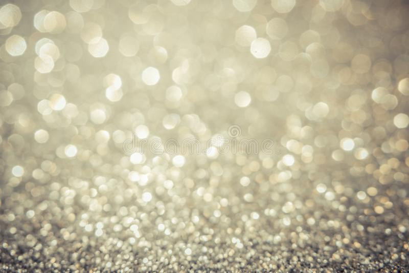 Gray lights and gray and yellow bokeh background for Valentine`s day, event and party concept. Golden background royalty free stock photo