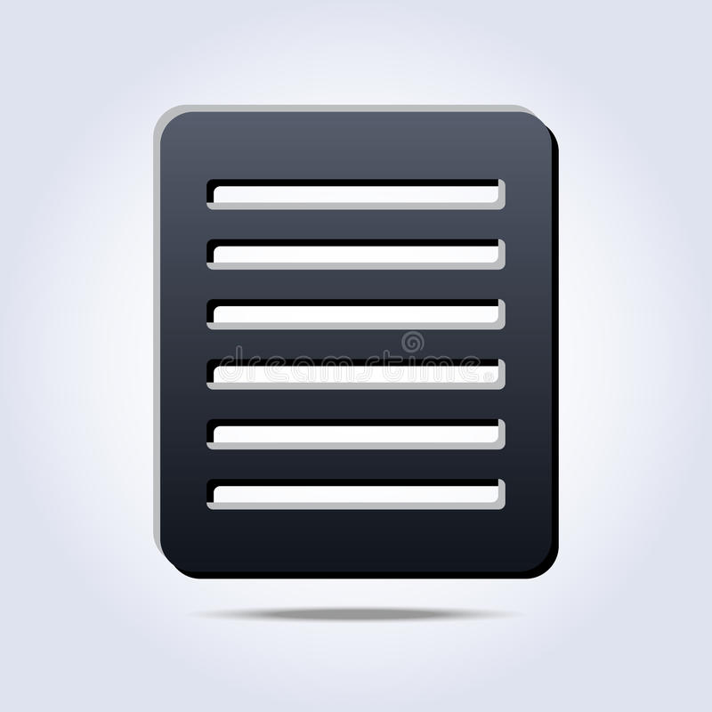 Gray list with text icon. In vector stock illustration