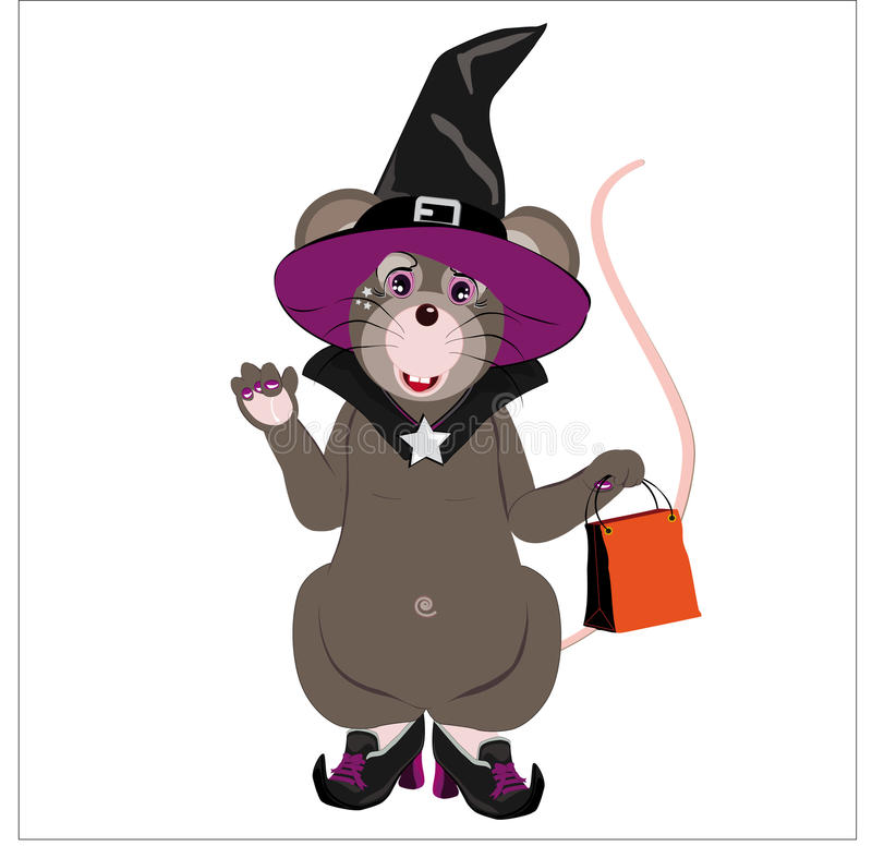 Gray Little Mouse Dressed As A Witch Stock Illustration