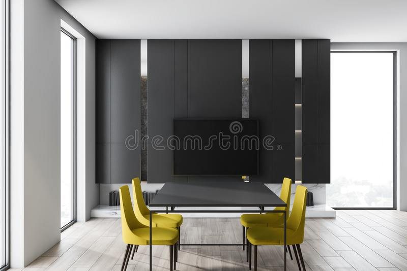 Gray living room with dining table and TV. Interior of minimalistic living room with gray walls, wooden floor, modern TV set with black screen hanging above stock illustration