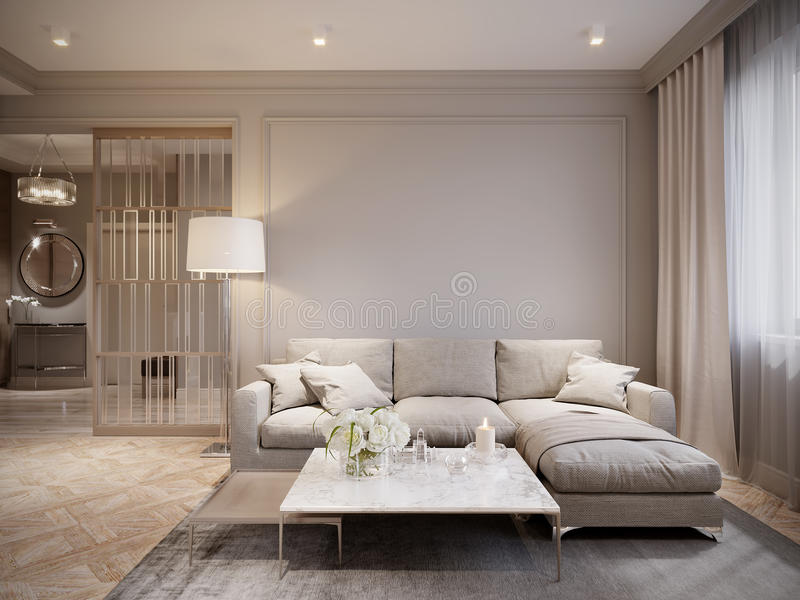 Gray Living Room Interior Design beige moderno ilustración del vector