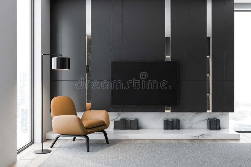 Gray living room interior with TV and armchair. Interior of minimalistic living room with gray walls, wooden floor, modern TV set with black screen hanging above stock illustration