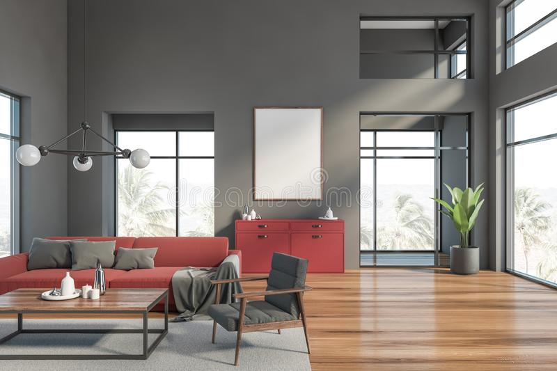 Gray living room with red sofa and poster vector illustration