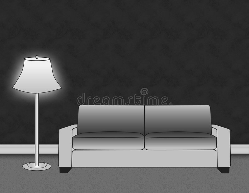 Gray Living Room Setting stock illustration