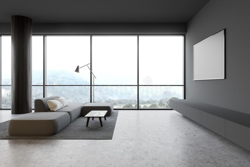 Gray living room with TV and sofa. Luxury panoramic living room interior with gray walls, concrete floor, gray sofa standing on soft carpet with coffee table and stock illustration