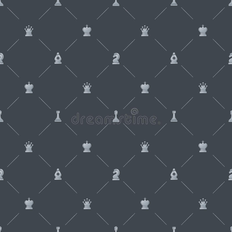 Gray Luxury Seamless Pattern With Chess Symbols Stock Vector