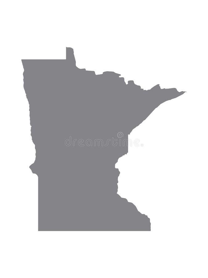 Gray Map del estado de los E.E.U.U. de Minnesota stock de ilustración
