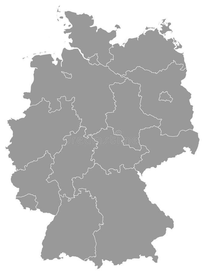 Gray Map des états de l'Allemagne illustration libre de droits