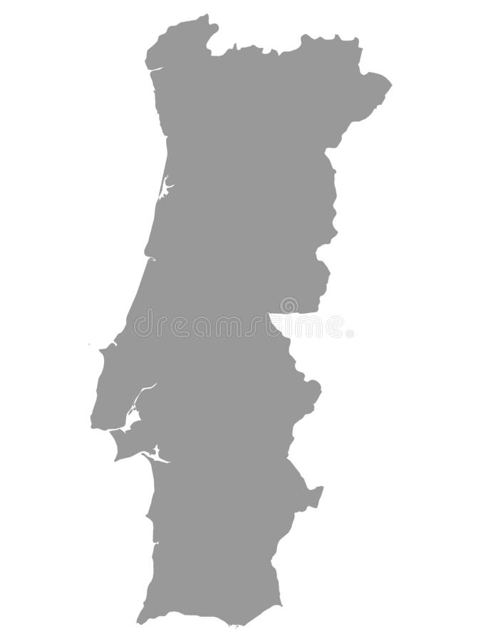 Gray Map of Portugal on White Background. Vector Illustration of the Gray Map of Portugal on White Background royalty free illustration