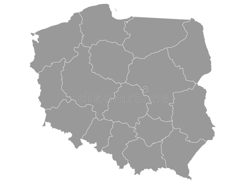 Gray Map of Regions of Poland. Vector Illustration of the Gray Map of Regions of Poland vector illustration