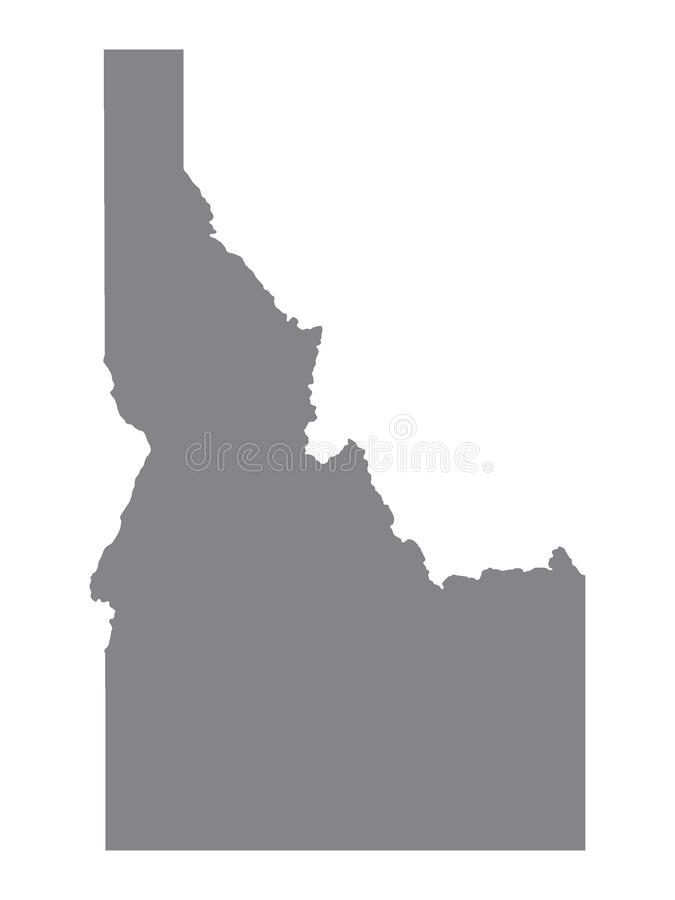 Gray Map of the USA State of Idaho. Vector illustration of the Gray Map of the USA State of Idaho stock illustration