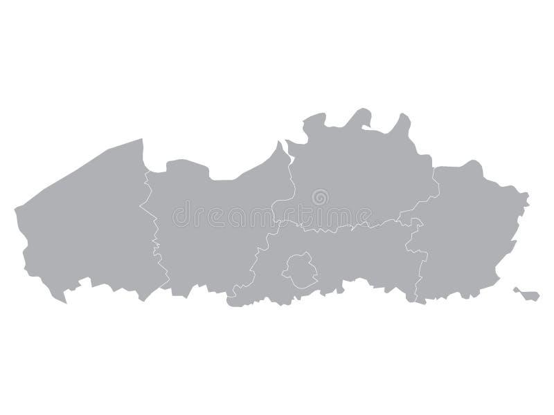 Gray Map van Belgisch Gebied van Vlaanderen vector illustratie