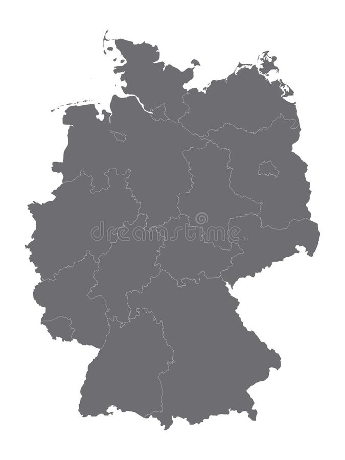 Gray Map van Duitsland met Staten royalty-vrije illustratie
