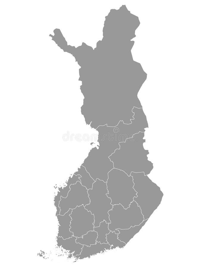 Gray Map von Regionen von Finnland lizenzfreie abbildung