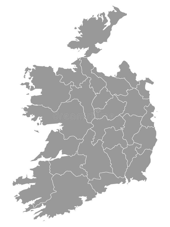 Gray Map von Regionen von Irland stock abbildung