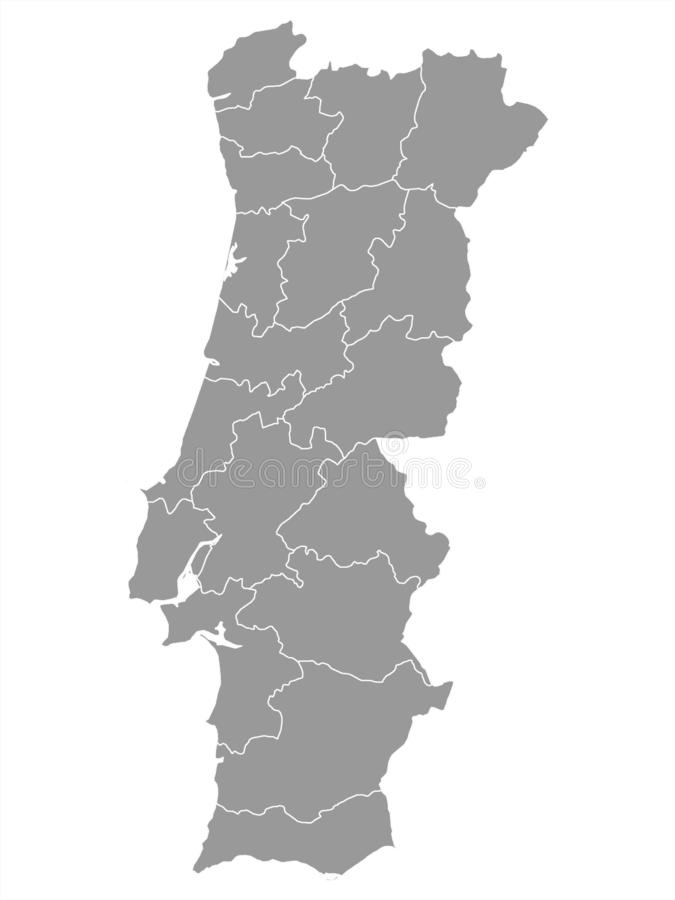 Gray Map von Regionen von Portugal stock abbildung