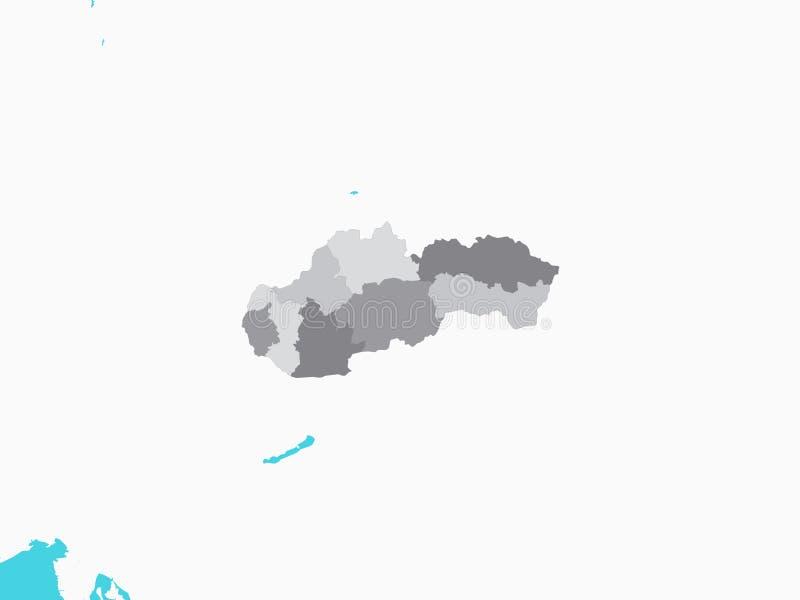 Gray Map von Regionen von Slowakei mit umgebendem Gelände stock abbildung