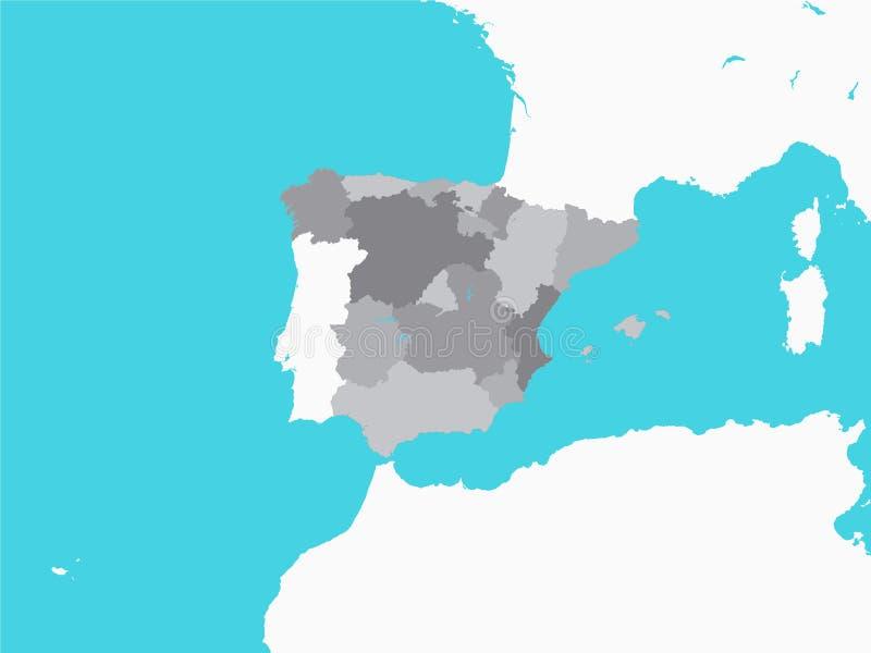 Gray Map von Regionen von Spanien mit umgebendem Gelände stock abbildung