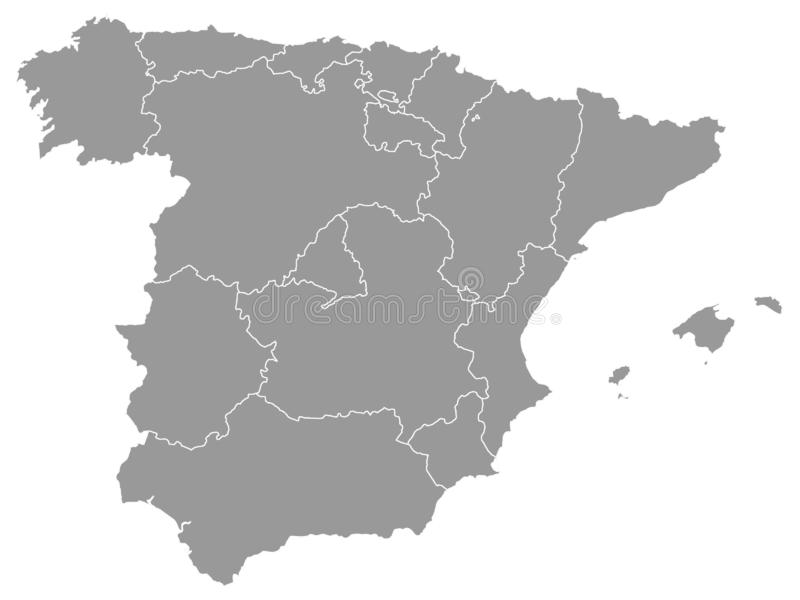 Gray Map von Regionen von Spanien lizenzfreie abbildung