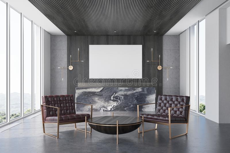 Gray And Marble Office, Reception, Armchairs Stock ...