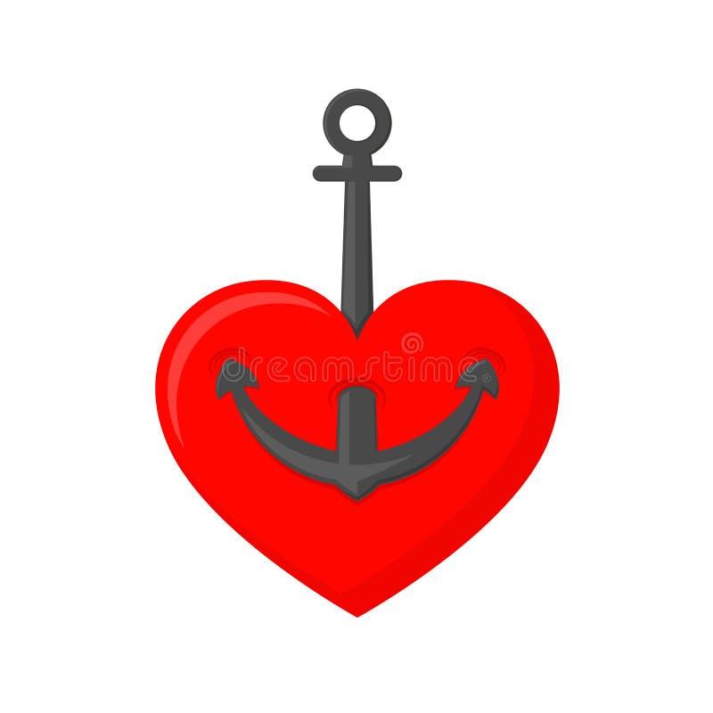 Marine anchor with heart. Vector illustration stock illustration