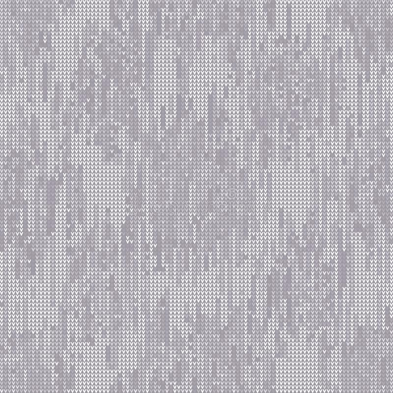 Gray Marl Blanket Knit Stitch Seamless Pattern. Homespun Handicraft Background. For Woolen Fabric, Cute Gender Neutral Grey royalty free illustration