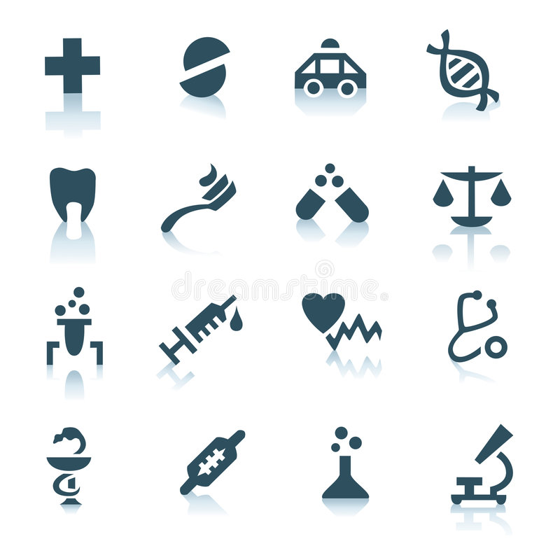 Gray medicine icons on white background stock photography