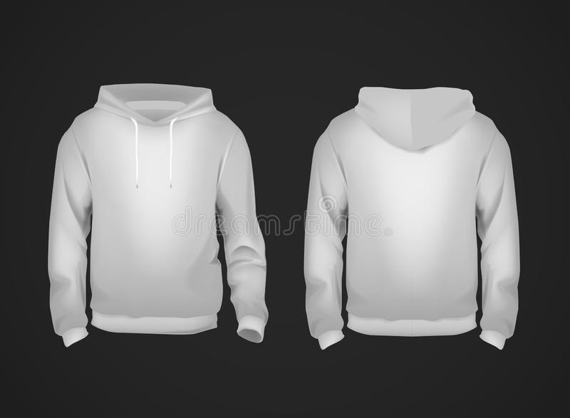 Gray men`s sweatshirt template front and back view. Hooded sweatshirt for branding or advertising. Hoodie vector illustration