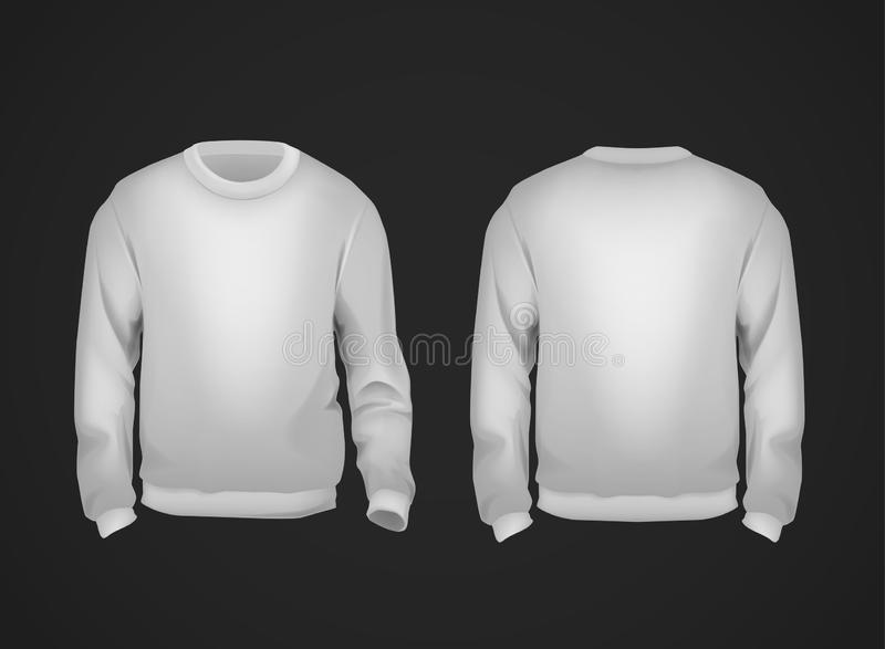 Gray men`s sweatshirt template front and back view. Hoodie for branding or advertising vector illustration