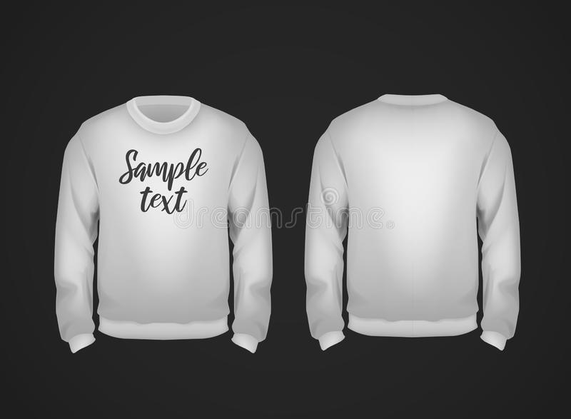 Gray men`s sweatshirt template with sample text front and back view. Hoodie for branding or advertising vector illustration