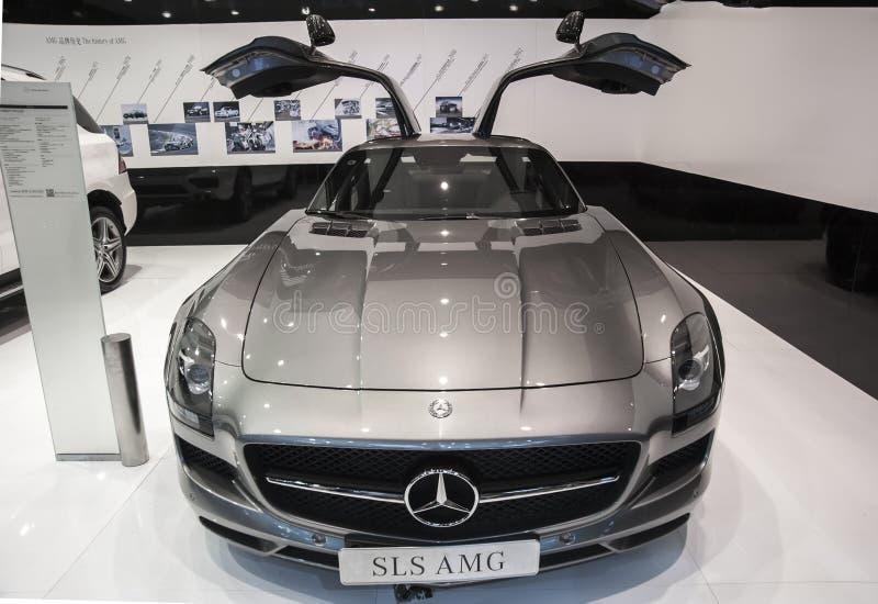 Gray mercedes-benz sls amg car royalty free stock photos