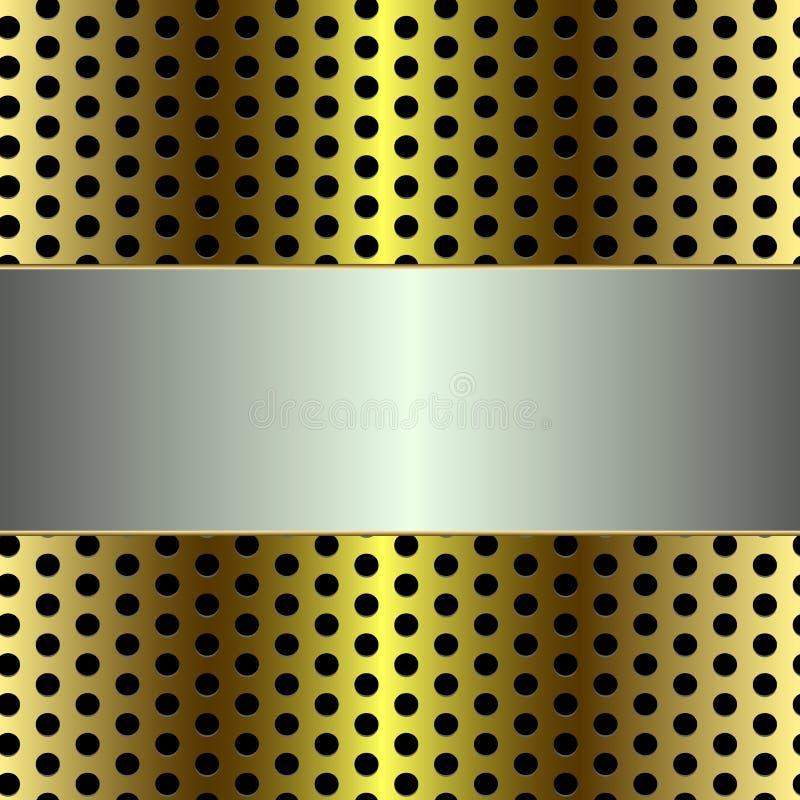 Gray Metal Board brillant sur le m?tal d'or Mesh Background illustration stock