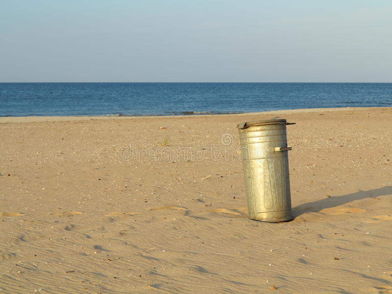 Download Gray Metal Garbage Bin Or Can On Beach Stock Image - Image of environment, rubbish: 33042059