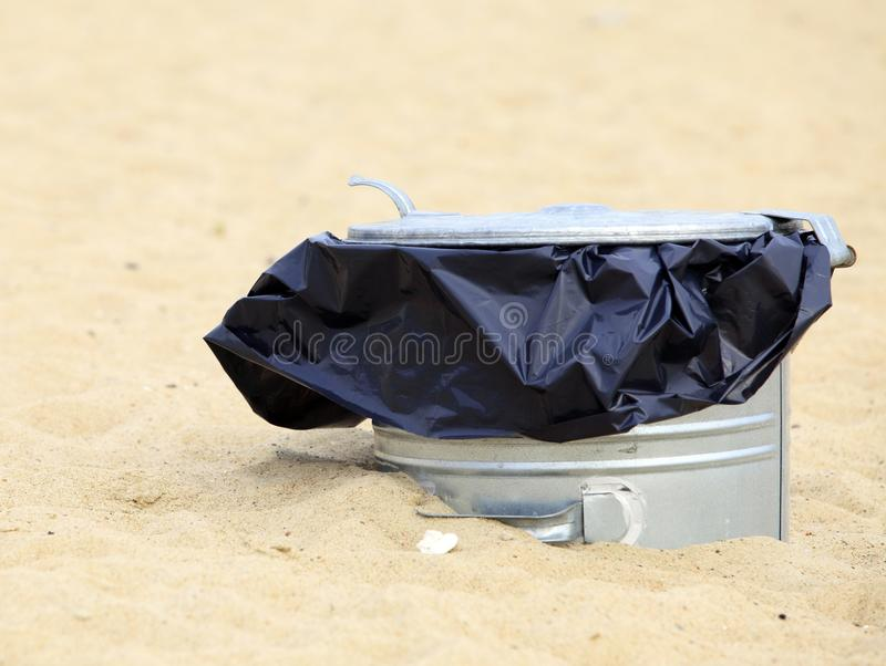Download Gray Metal Garbage Bin Or Can On Beach Stock Image - Image of rubbish, basket: 33138107