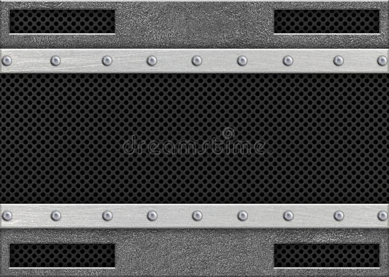 Metal mesh and weathered steel plate background vector illustration